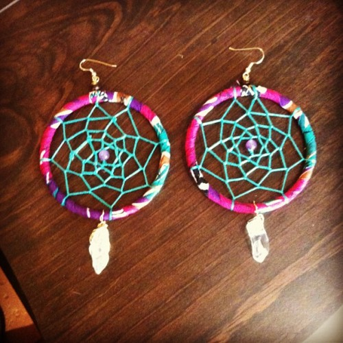 Bigger Hoops with quartz crystal. Available on www.nativesol.etsy.com #nativesol #handmade #healing #dreamcatcher #floweroflife #dreamweaver #jewelry #quartz #crystal #shopeastvillagelb #eastvillagelongbeach #etsy