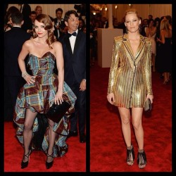 Two of our favorite looks from the #METgala. Christina Ricci in #VivienneWestwood and Elizabeth Banks in #AtelierVersace