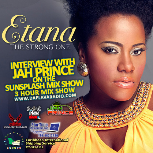 "Listen: ""Sunsplash Mix Show Etana Interview"": http://podOmatic.com/r/zTTSQu @EtanaStrongOne @JahPrince We are elated to have The Strong One, Etana with us for this program and find her relaxing with her daughter as we talk about EP, 'Reggae'. Released thru VP Records we hear the variety of reggae and Afrobeat and Etana shares her views on being a mother, artist and her recent trip to Kenya. This mix features some of my favorite urrent songs and then new music from Iba Mahr, Queen Ifrica and a special from Mojo Morgan."