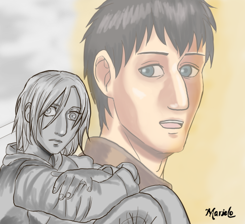 imarielo:As Armin talks, Annie begins to think and remember Bertholt #beruani#annie leonhardt#bertholdt #attack on titan