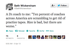 More College Basketball Coaches at Risk? This tweet from ESPN senior writer Seth Wickersham is ominous. It's hard to imagine that there are coaches worse than fired Rutgers coach Mike Rice, who was caught on tape swearing at, pushing and launching basketballs at his players. I wonder if this is just the beginning.
