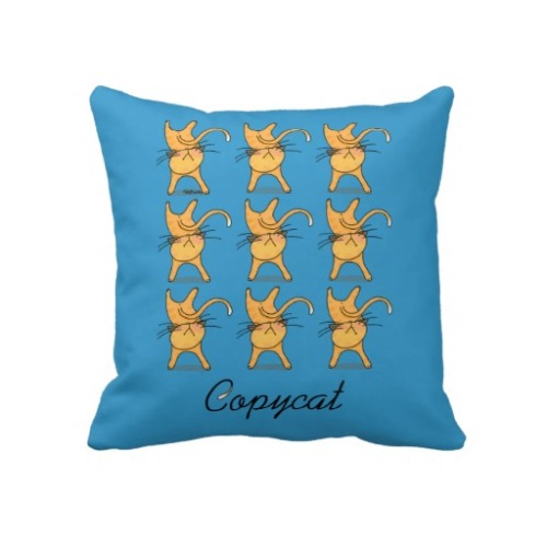Copycat Pillow by TsipiLevin  Cats Illustration
