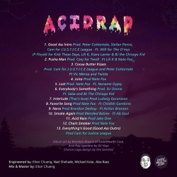 #AcidRap track list and back cover. Physical copies of the album/mix tape are being printed now. I wanted to share the back cover with you. @ChanceTheManager @PatTheManager #Love #Wisdom #Power