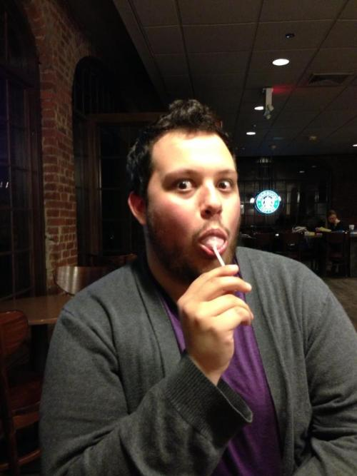 My new profile picture. My first time trying a cake pop! Not bad. And the face is… well… probably entirely expected.