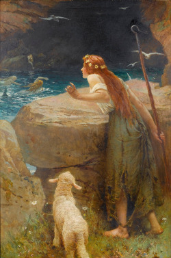 The Shepherdess by Edward Frederick Brewtnall (1846-1902) oil on canvas, 1900  summer days! can't wait.