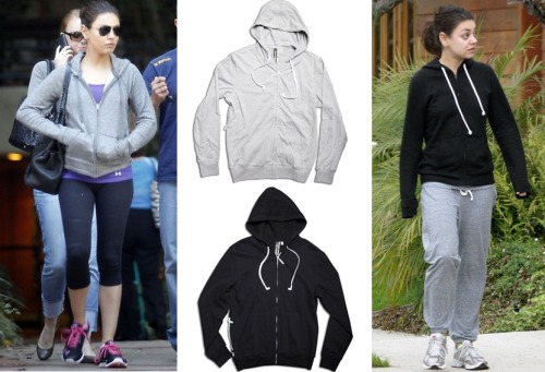 User submission from Red Light PR! Get the Casual Look | Mila KunisMila Kunis seems to never leave the house without a comfortable hoodies. You too can get this easy look with styles from HoodieBuddie!The line even has built in headphones in every style – letting you listen to your favorite song on the go! HoodieBuddie | $52.00 | www.HoodieBuddie.com *I personally love the built in headphones!  Great for working out!