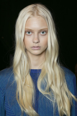 catwalkclub:  Nastya Kusakina backstage at Hervé Léger by Max Azria Fall 2013