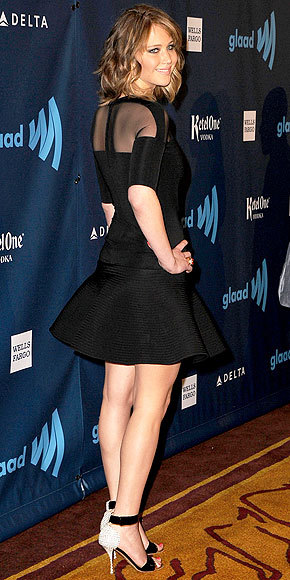 Better From The Back? Jennifer Lawrence The star's new long bob takes some (but not all) of the attention away from her majorly flared David Koma mini. See the look from all angles here!