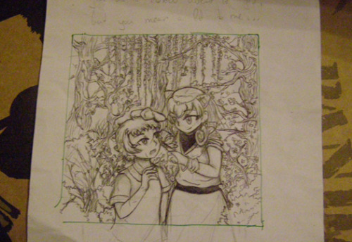 My scanner is dead, but today I finally finished and old sketch for the AU what only lived until a draft phase. (;w;)/