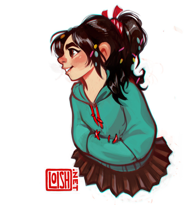 obligatory vanellope fanart! she was very cute and i love red+teal so. the style of the sugar rush characters really reminded me of the kind of stuff i used to draw all the time. i even had a character called candy cane laine who, in a more innocently dressed version, could easily be one of the racers :D