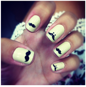 Mustache Nails - Follow Me :) on We Heart It. http://weheartit.com/entry/47463450/via/DamnIReallyWantToKissYou