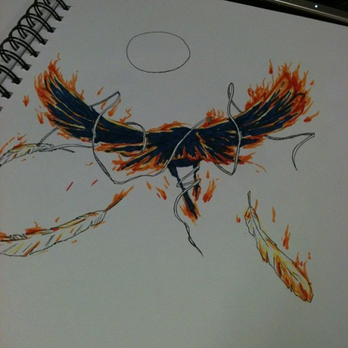 First time playing with copics!~ #crow #fire #sun #copicmarkers #doodle