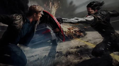 destronomics:  The artwork from Captain America: The Winter Soldier depicts a fight scene between Steve Rogers (Chris Evans) and his old pal Bucky Barnes (Sebastian Stan), who has now been transformed into a deadly assassin, with a cybernetic arm. (x)
