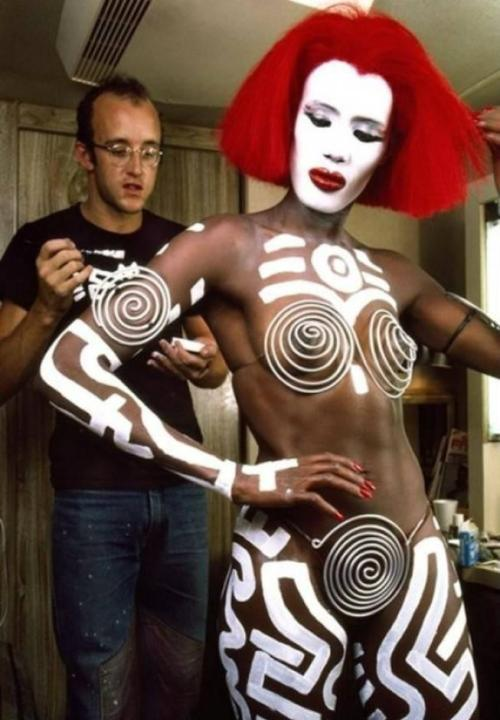Grace Jones gets painted by Keith Haring — both are May babies, and creatures from a better planet who've blessed us with a spell here on Earth. Happy birthday.