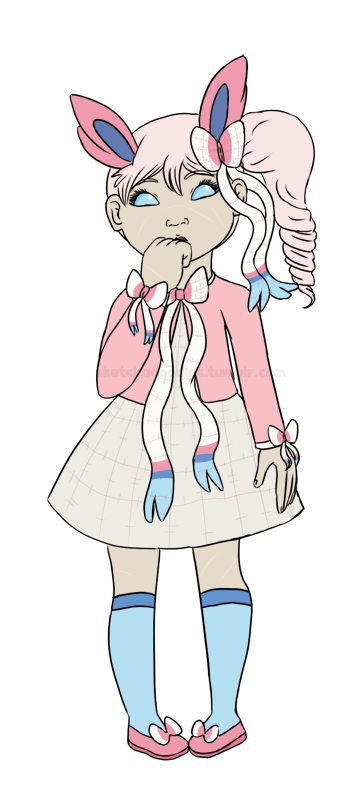 Bout time I got this Sylveon done.  Just a chibi of Poppy. She's four years old, though that's hard to show with a chibi. She's the little sister of Primrose. And they are in fact sisters, they have the same father but different mothers. Though their father went missing when Poppy was rather young, so Prim kind of had to raise her. Not much is known about their past aside from that. She doesn't talk in full sentences very well, and tends to slur her words when she tries. As mentioned on Tee's blog, she has a habit of climbing out windows to get outside, particularly in the middle of the night, often forcing everyone to keep a close eye on her. They've basically nailed any window she can reach shut. Despite how cute she might look, she's not in any way innocent. But that's a story for another day. She came out much girlier than I had planned. But oh well. 8D And she has a tail, it's just not really visible from this view.