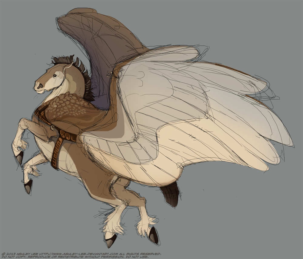 Lizkay suggested drawing a winged draft horse, and I have actually been itching to draw a stout pegasus. The hard part is not turning it into a character. >:I I gave it a wing harness like Gethin's because it makes me tired to think of anything having to hold up wings but a bird.