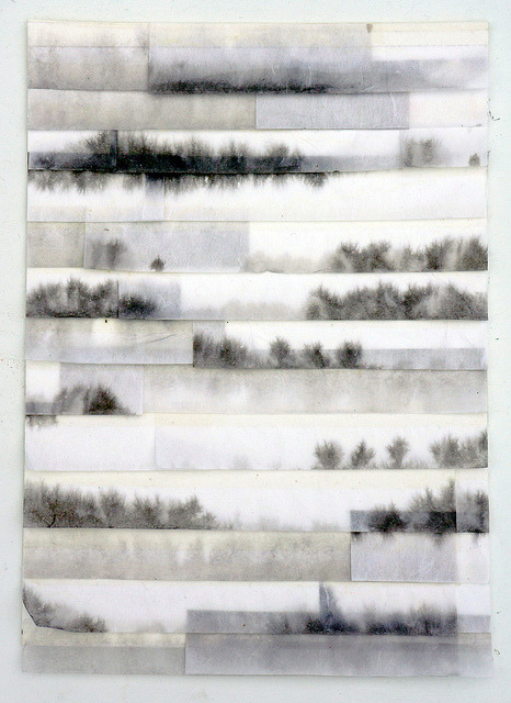 dailyartjournal:  Fu'kei no hohaba (2013) ink on mimitsu handmade washi paper, collage on canson paper for mixed media 300g 295x210mm by mayakonakamura on Flickr.