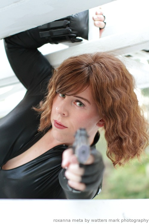 cloggo:  I think Roxanna's Black Widow is my favourite of her Cosplays. Difficult to choose, she excels in them all. roxannameta:  Boom, baby. Roxanna Meta as Black Widow, photographed June 2012 by The Watters Mark Photography.   Hey, thank you! :) I didn't know this costume was anyone's favorite. I'm grinning!