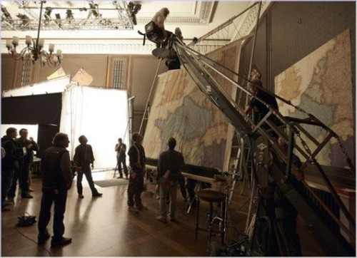 behindtheillusions:  On the set of Inglourious Basterds (2009), directed by Quentin Tarantino.