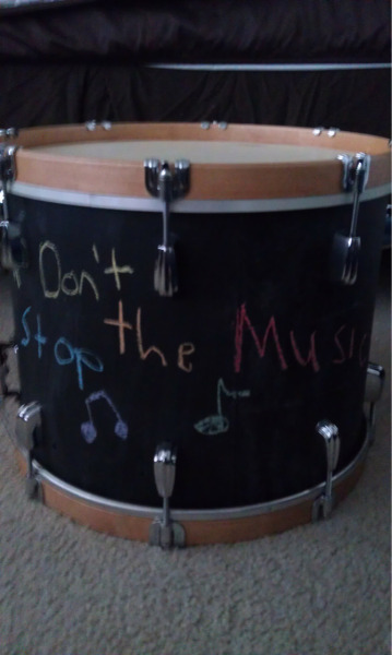 The Learning Drum:  This is a drum I recently completed that I call the learning drum. I believe education is one of the most incredible things to watch and that teachers are truly inspiring. I wanted to create a drum that had a true soul and reflected that. I bought the shell of the drum on eBay. It was an old Slingerland Haskell Harr Model that came with no hardware and had seen better days. This drum was probably used by a high school or college marching band for many a half time show or pep rally, thrown under buses and left in a closet somewhere after years of service. So I decided to take knowledge of my education and younger drumming days and pay tribute to educators that helped me along the way. Inside the drum are old articles from Modern Drummer magazines and quotes from famous drummers I admired. It has several holes drilled so you can look inside the shell. The outside is painted in chalk board paint so it can be written on. The shell was still mostly in round when I assembled it. Gotta love American craftsmanship. These drums were made to last a life time and now this one lives to play another day.