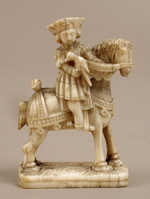 Chess Piece in the Form of a Knight Date: ca. 1500 Culture: Netherlandish Medium: Elephant ivory Dimensions: Overall: 2 13/16 x 1 7/8 x 15/16 in. (7.2 x 4.8 x 2.4 cm) Classification: Ivories