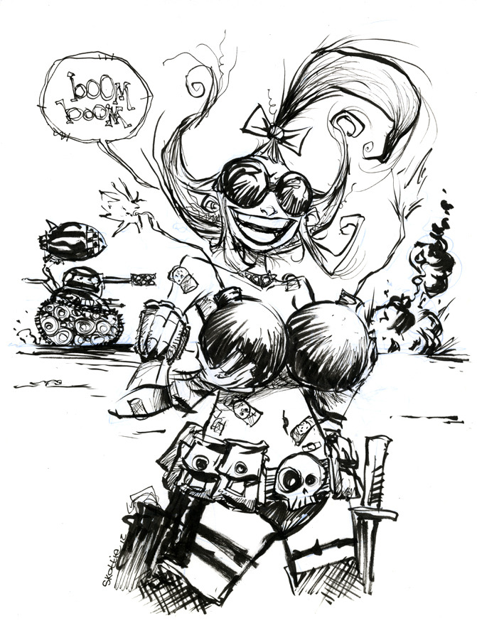 skottieyoung:  Tank Girl sketch  Skottie Young + Tank Girl is my greatest comic book dream come true. 13-year-old me and 29 year-old-me are really happy about this.