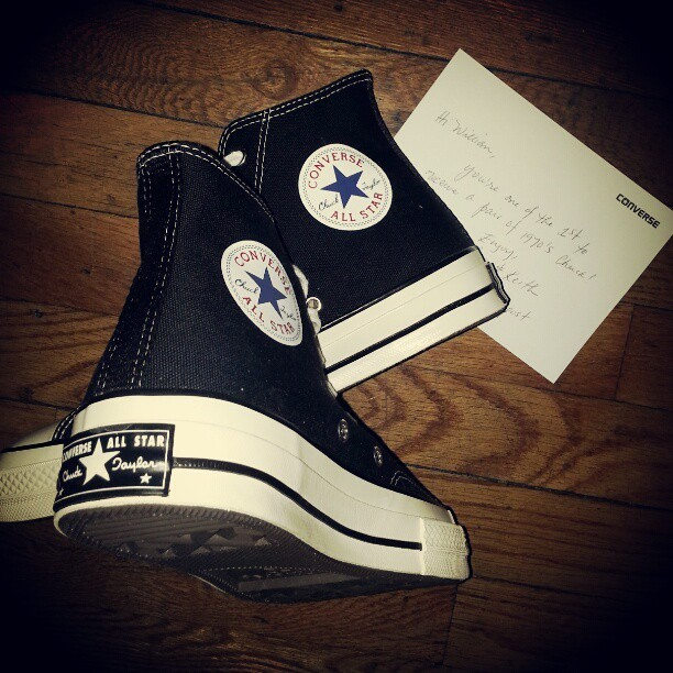 Converse First String Standard 1970s Chucks, sweet!! These have a higher sole, added cushioning; vintage license plate on heel and super heavy grade canvas upper. Thanks @converse !! #nyfw #freeswag #converse #thenextbigthing