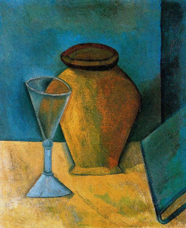 Pot, Glass and Book, 1908, Pablo PicassoMedium: oil,canvashttps://www.wikiart.org/en/pablo-picasso/pot-glass-and-book-1908 #cubism#pablopicasso#picasso