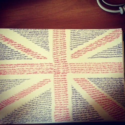 #journal #wreckthisjournal #scetchbook #englandflag #london #style #red #blue #colorful #teenager #drawing