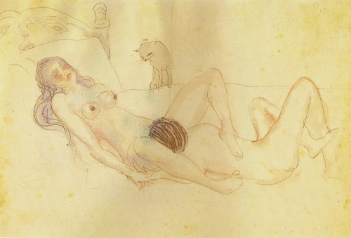 statictrees:  Pablo Picasso, Two Figures and a Cat, watercolour and pencil on paper; 1902