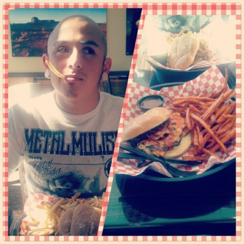 Lunch at #bbqtrio with #myboo @kaosprerunner he's smoking a #frenchfry clearly :D #haha #lol #yum #bbq #lunch #sweetpotatofries #break #full #foodie #foodporn #instafood #instagood #loveofmylife #hottie #pipesmoking #fries #instagram #instagramer #instagramhub #instahub #instayum #instaboyfriend #myboyfriendisbetterthanyours #suckonthat