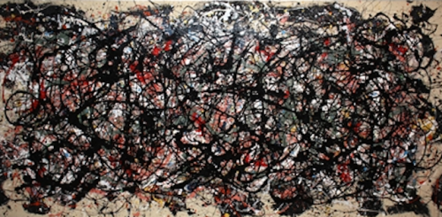 artnet:  Not Pollock But isn't it strikingly similar? In the early 1980s, Mike Bidlo began to appropriate the Modern masters by focusing on the paintings of Jackson Pollock. He even hired a Pollock 'look-alike' to re-enact the drunken Pollock urinating in Peggy Guggenheim's fireplace during a cocktail party at her apartment. Pictured is Mike Bidlo's 1983 work, Not Pollock. Place your bid online.