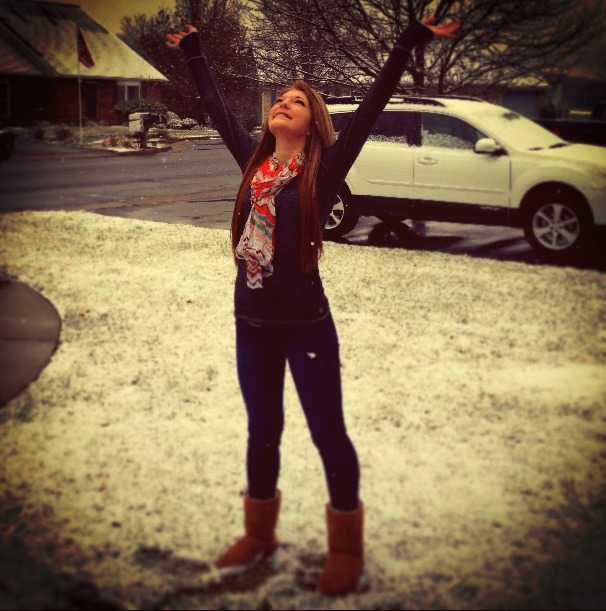 It's finally snowing(: