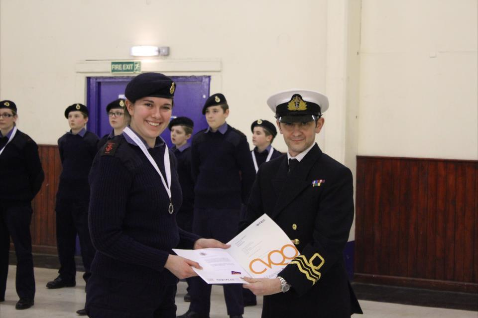 BTEC Distinction Star for LC Pain from Farnham, Aldershot & Fleet Sea Cadets Congratulations to LC Pain who was awarded by CVQO a Distinction Star for BTEC Level 2 in Public Services. She was presented with her certificate by the District Officer Lt Cdr (SCC) Milligan RNR