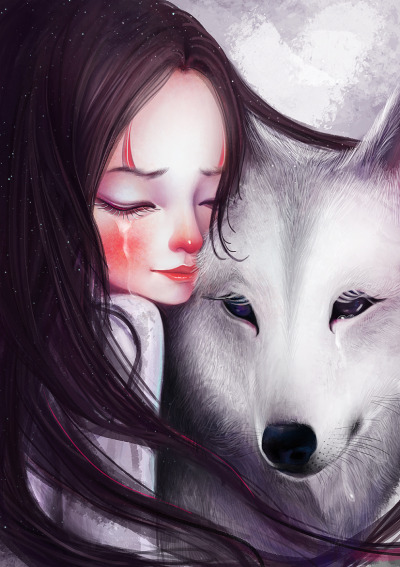 Little girl with white wolf.