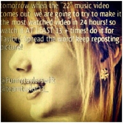 #repost #taylor #swift #mv #22 #red #tour #tomorrow #13th #yay #amazing #swifties #do #it #for #taylor #stay #strong #taylor #lovelovelove :')) @taylorswift ❤❤