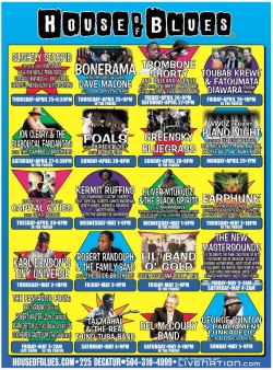 House of Blues New Orleans releases it's Jazz Fest 2013 lineup schedule April 25 - May 5, 2013 featuring legends, superjams, and tomorrow's icons.