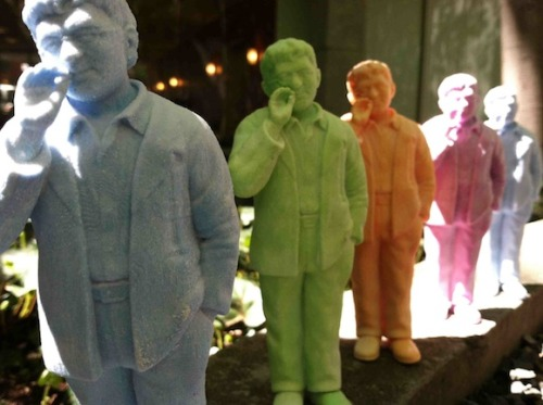 rhizomedotorg:  3D-printed Guy Debord action figures (2012). Produced by McKenzie Wark, design by Peer Hansen, with technical assistance by Rachel L. A Cavalier History of Situationism: An Interview with McKenzie Wark  One of the premises of The Spectacle of Disintegration is that there's the myth of the overcoming of the spectacular form in the age of the Internet, but what it does is make it microscopic and distribute it throughout the entire media sphere, so we now have micro-spectacular relations rather than one big macro one. So if you think about the old culture industry, everybody was critical of it, but at least it fucking entertained us! You would have all those flaws that Adorno spoke about, the extorted reconciliation of the ending, the equivalence of exchange values, but at least it was offered to you as something to consume. We've moved from the era of the culture industry to what I would call the vulture industry, which is companies like Google. I mean, in terms of culture, they don't make shit. They just allow you to get to stuff that somebody else made. So now we have to even entertain each other. Go on, make some cat videos! So there's a sense that on one side there's the outsourcing of the production of the thing, and on the other what I would call the insourcing of the production of the affect. It becomes everyone's job, but no one is to expect to get paid for it anymore. It was always a struggle if what you wanted to do was be a creative person, to make any living at all. I don't know if that got any worse. It was always terrible. But the conditions of its terribleness change with each technical evolution. - Wark