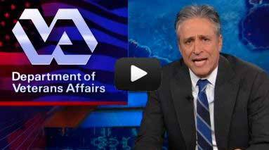 "Jon Stewart Tears Into ""Criminal"" VA Backlog On Wednesday's episode of The Daily Show, Jon Stewart decried the extremely long wait times veterans are facing for their disability claims and medical appointments despite an increase in funding to the Department of Veterans Affairs. Watch the clip here."