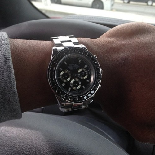 #Rolex #Daytona with a Custom #BlackDiamond #Bezel shout my guy he ridin fly !