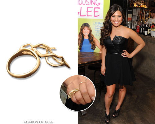 Jenna Ushkowitz appears at the Choosing Glee release party, New York City, May 14, 2013 Misa Jewelry 'The Roots' Sideways Ring - $185.00 Worn with: Stella + Dot necklace Also worn in: New York City, May 14, 2013 with Twenty8Twelve top, Twenty8Twelve shorts, Chloé wedges New York City, May 14, 2013 with Stella + Dot necklace, Falling Whistles necklace, Zadig & Voltaire blazer, Chaser LA tee, Jerome Rousseau pumps