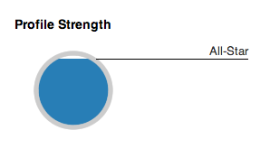 "LinkedIn ""Profile Strength"" If you fill the circle all the way up, you advance from ""All-Star"" to ""Baller"" but nobody's ever done it and lived to tell about it. True story."