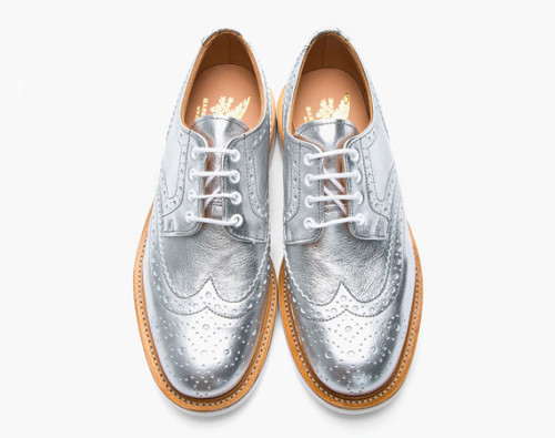 honeyanddeath:  MARK MCNAIRY – METALLIC SILVER LEATHER BROGUE SHOES
