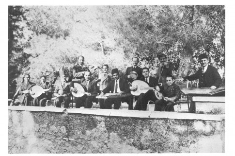 "The ""oriental band"" (takht) of the Palestine Broadcasting Station entertaining guests at a private party, Jerusalem, 1940. ( collection: Matson Photo Service, Library of Congress)"