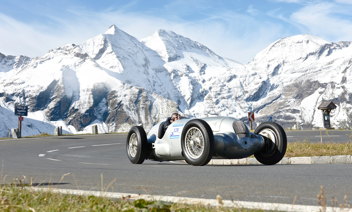 The 1937 Mercedes W125 Silver Arrow in the Grosser Bergpreis Grand Prix on the Grossglockner, Austria. Unknown photographer.
