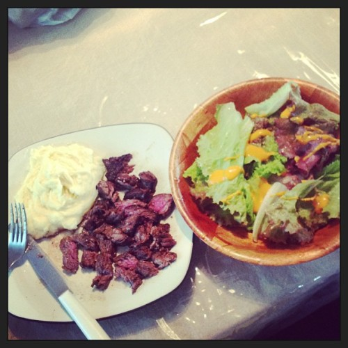 #Steak #mashedpotatoes and #salad from our garden