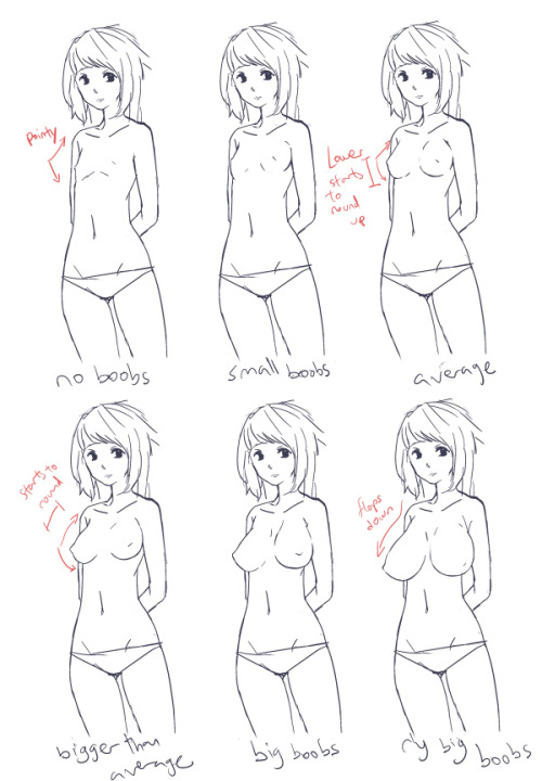 bunnyshadeow:  anon asked me how do I draw different sized boobs so I whipped up a tutorial (I draw slow, sorry) I am not a good expert at boobies soo sorry x2! weh haha basically flat = pointy-ish, as boobs size increase the lower half gets rounder, then the top half. boobies are floppy towards the sides due to gravity  shape/perspective of boobs  all the oppais! even though I am still not really good at drawing boobs at all sigh… i hope you find this useful even for a bit hahaa……..;;