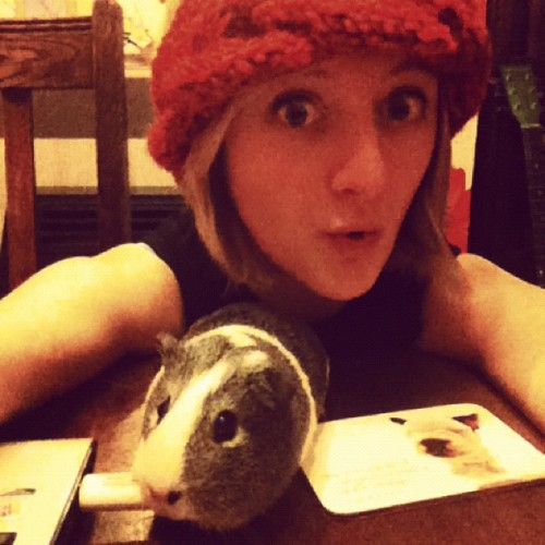 Knitting and guinea pig-sitting Saturday!   P.s. Note to knitters: Novelty bendy pencils make the best cable knitting needles.