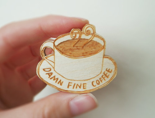themodernexchange:  Twin Peaks Brooch 'Damn Fine Coffee' | Kate's Little Store on Etsy