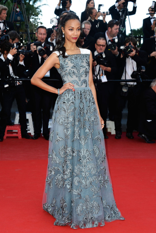 Zoe Saldana in Valentino at the Cannes premiere for Blood Ties on May 20, 2013.